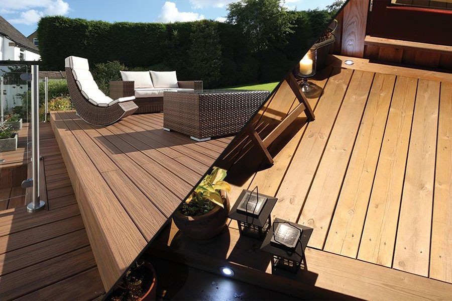 Timber and composite decking what s the difference for Redwood vs composite decking