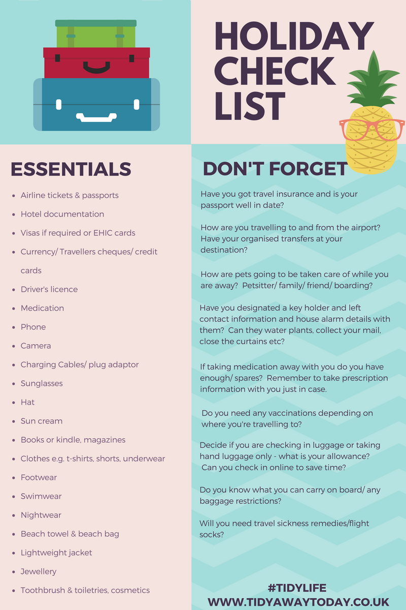 Tick off holiday checklist
