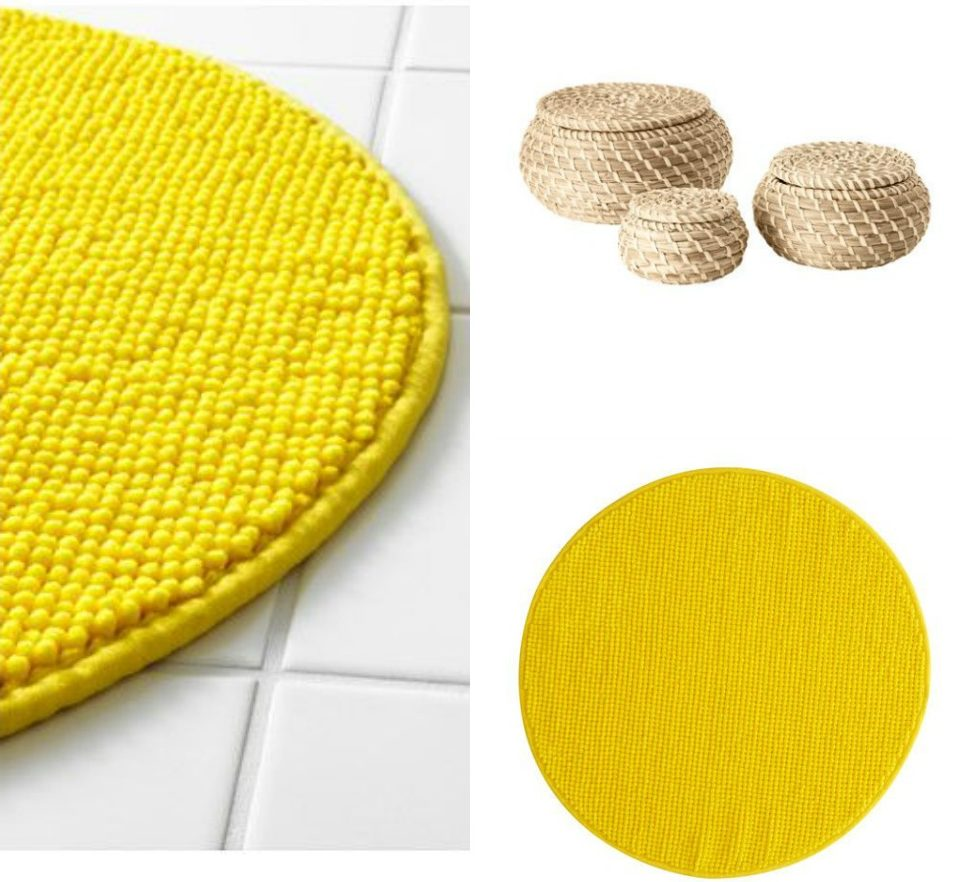 Bright yellow bathroom accessories - Amongst Other Accessories She Brought Along From Ikea This Bright Yellow Circular Badaren Bath Mat 3 50 And Set Of 3 Cute Fryken Baskets 6 50 So