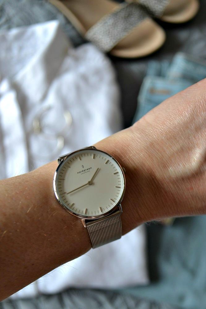 Silver wrist watch ladies