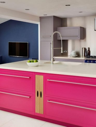 Hot pink kitchen island