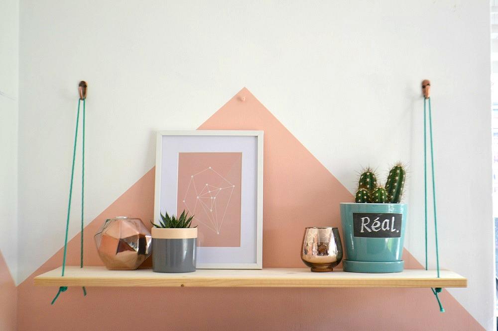 Diy a simple hanging shelf tidylife Etagere suspendue