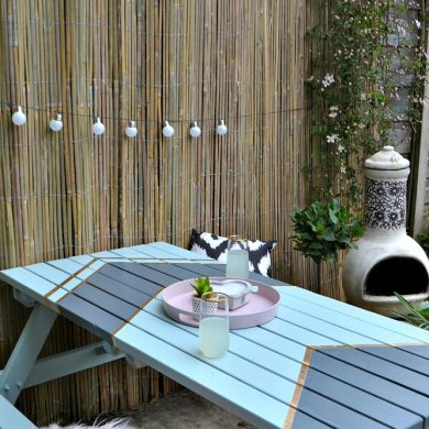 Upcycled picnic bench