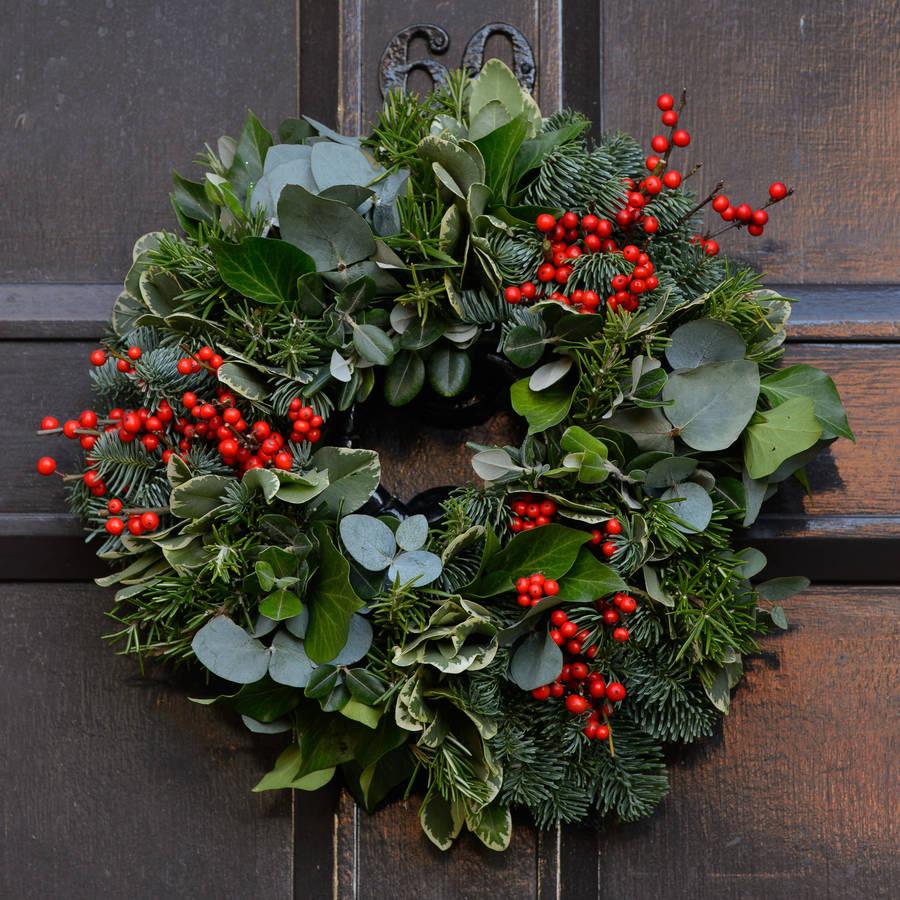 Real Christmas door wreath