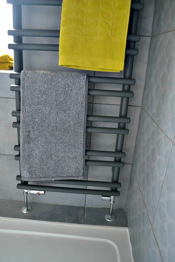 Grey heated towel rail