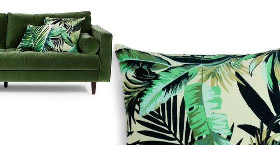 velvet sofa botanical