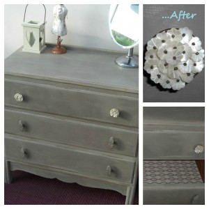 Salvaged dresser given a chalk paint makeover and new drawer knobs