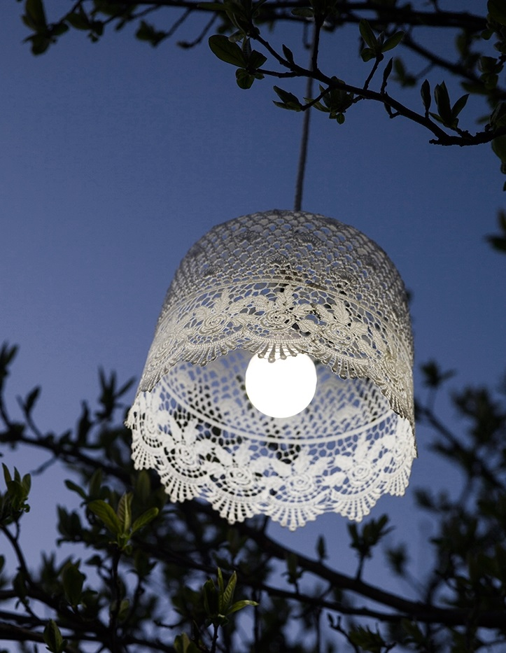 Battery Powered Lacy Lampshade - Rose Border (1)