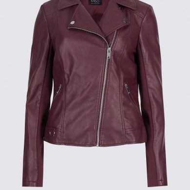 Faux leather berry jacket