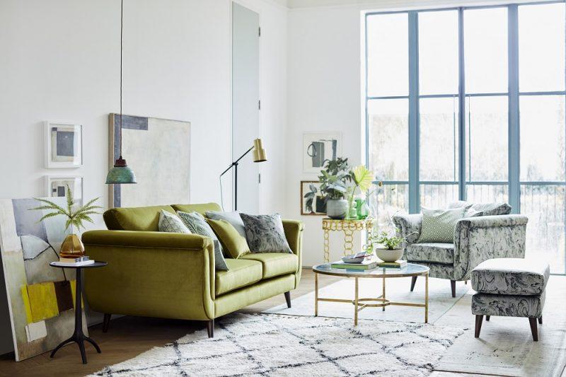 Green velvet sofa DFS