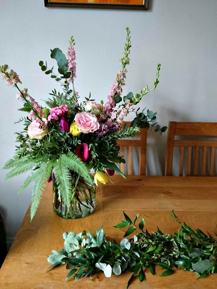 Making a bouquet and garland