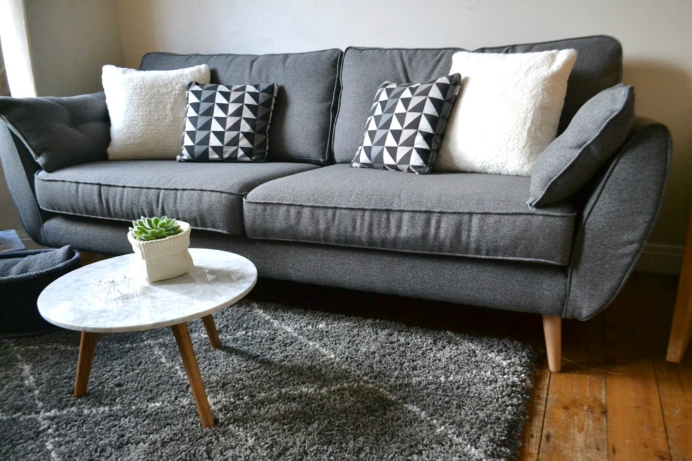 Zinc sofa DFS grey rug The Rugseller