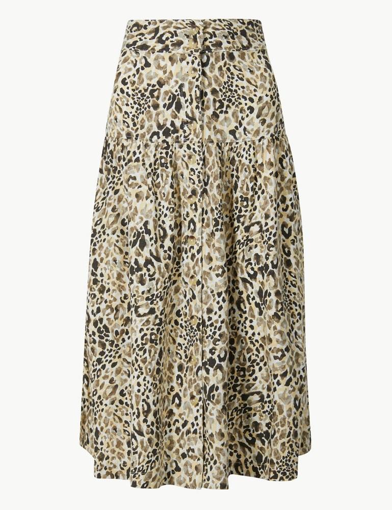 linen skirt leopard