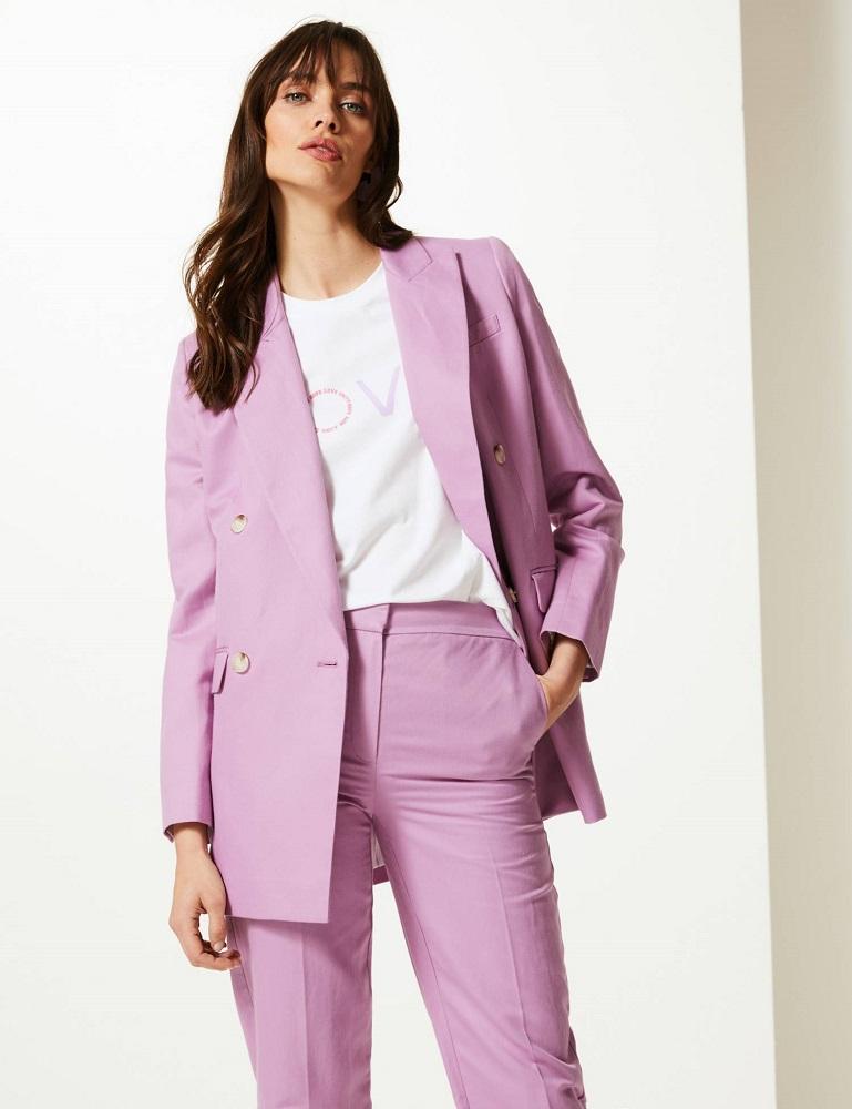 Pink linen rich suit