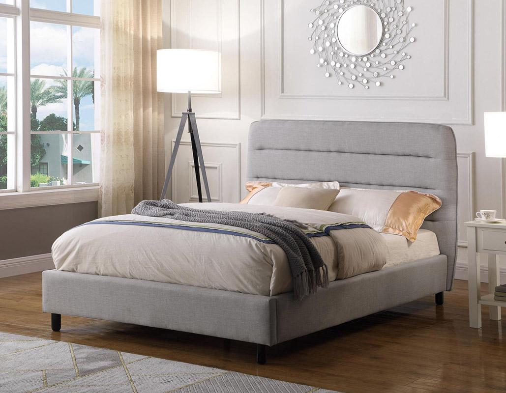Contemporary grey fabric bed