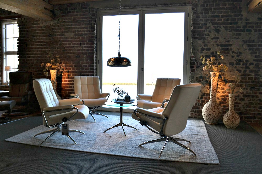 Ekornes Cream Leather Chairs