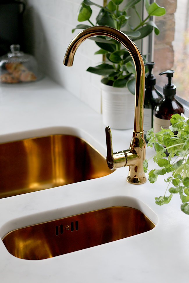 Gold tap and sink