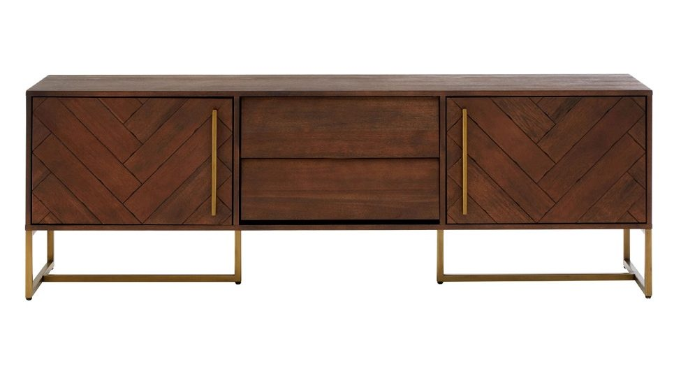 Dark wood and gold sideboard