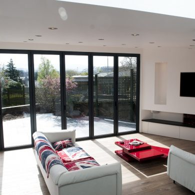 dark bifold doors