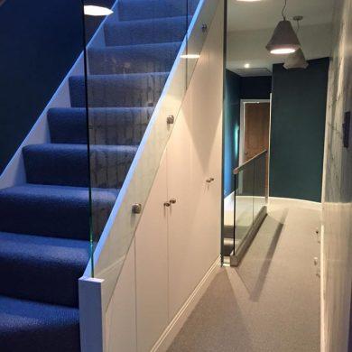 Glass balustrade loft stairs