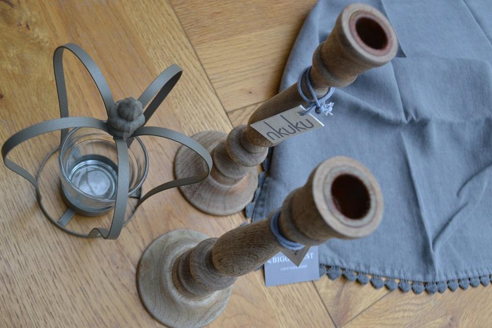 nkuku wooden candlesticks