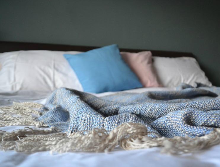 Cotton bed throw Blue Wayfair