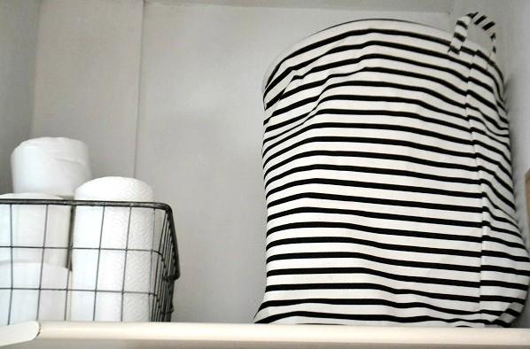 striped laundry basket