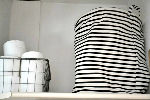 striped laundry basket